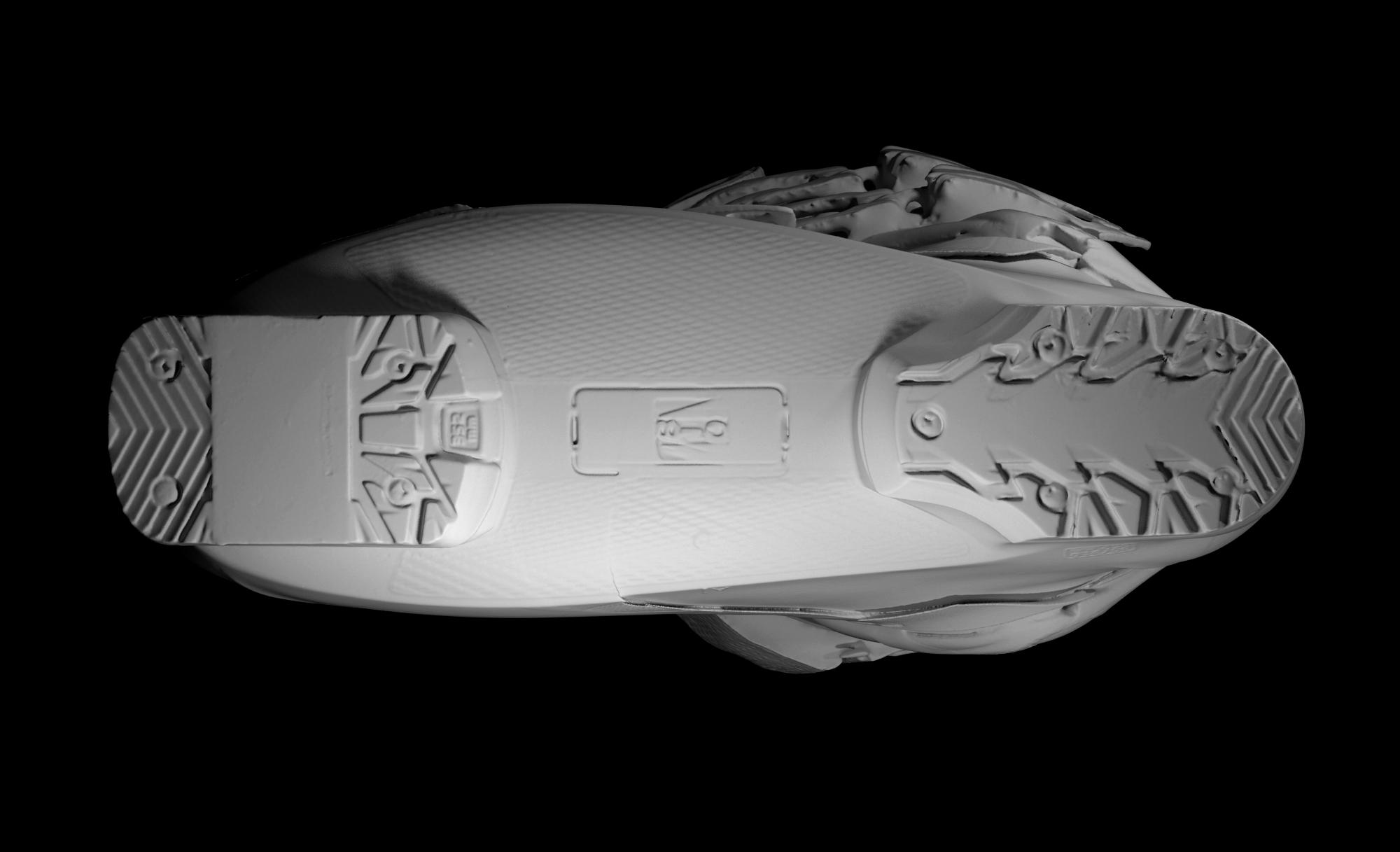 scansione 3d di scarpone da scii